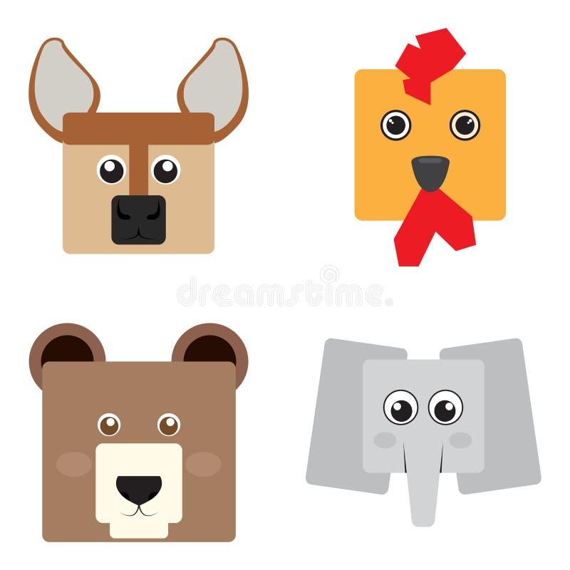 Insieme dei fronti animali royalty illustrazione gratis