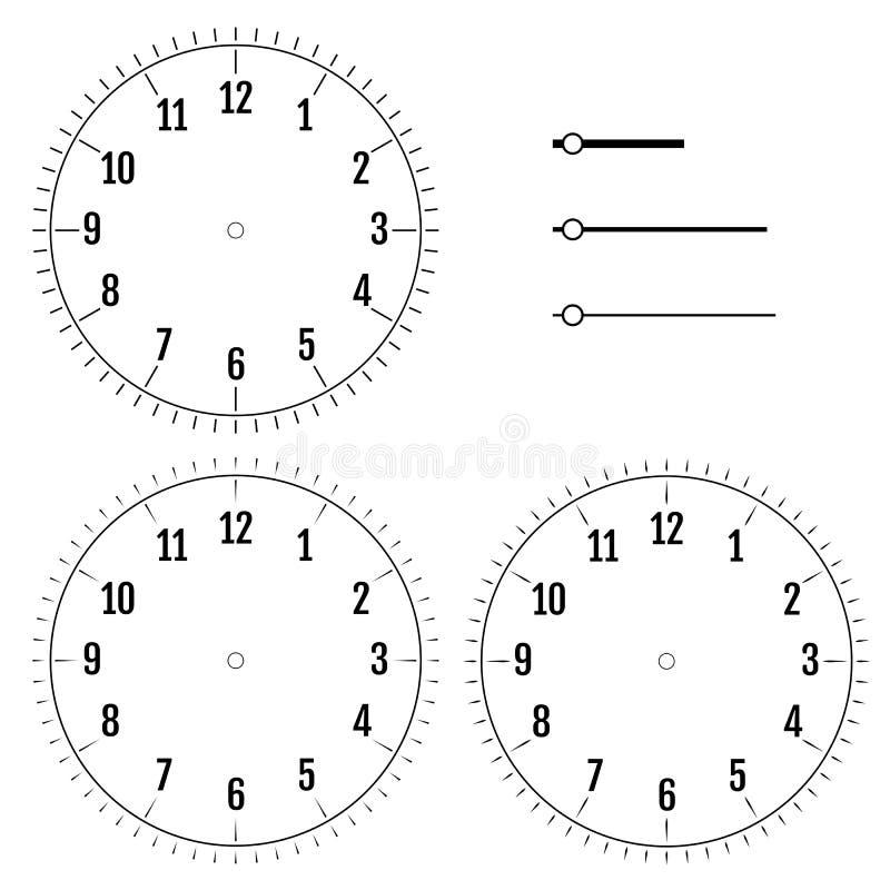 Insieme dei fronti di orologio rotondi Progettazione per gli uomini Quadrante dell'esposizione in bianco di illustrazione vettoriale