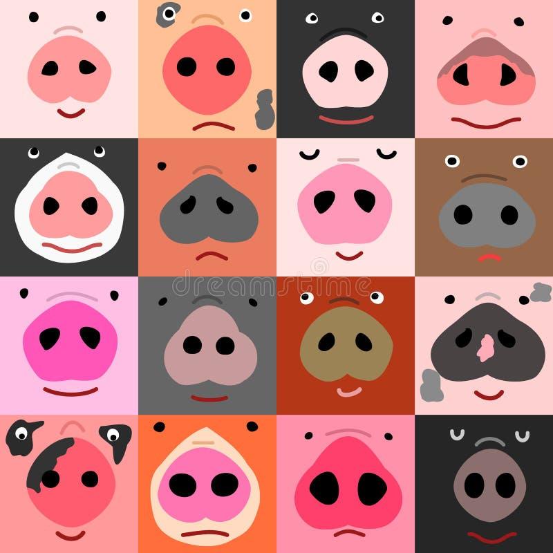 Insieme dei fronti divertenti del maiale illustrazione vettoriale