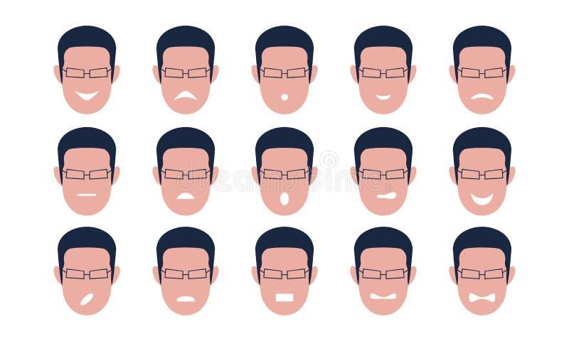 Insieme dei fronti maschii con le emozioni Gesto illustrazione vettoriale