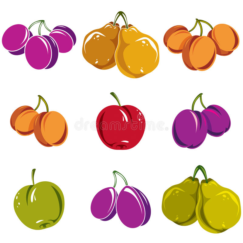 Insieme dei frutti dolci maturi di vettore differente variopinto Albicocche, pl royalty illustrazione gratis
