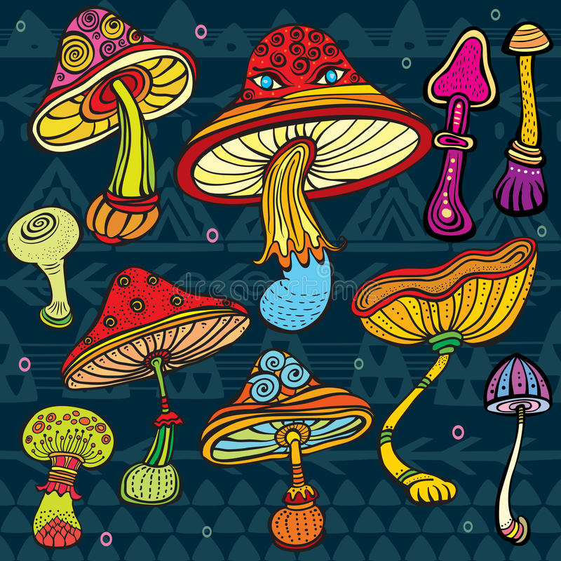 Insieme dei funghi stilizzati royalty illustrazione gratis