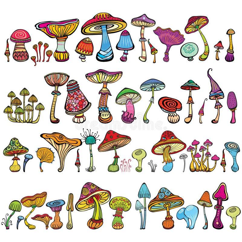 Insieme dei funghi stilizzati illustrazione vettoriale