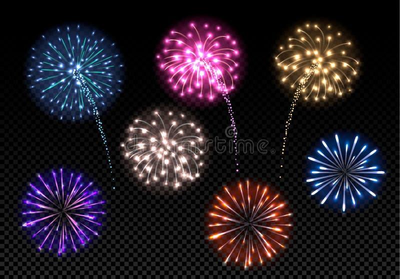 Insieme dei fuochi d'artificio variopinti illustrazione di stock