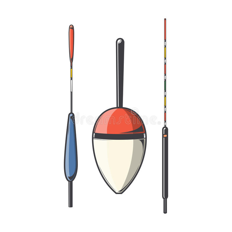 Insieme dei galleggianti di pesca isolati su un fondo bianco Linea arte di colore Disegno moderno illustrazione vettoriale