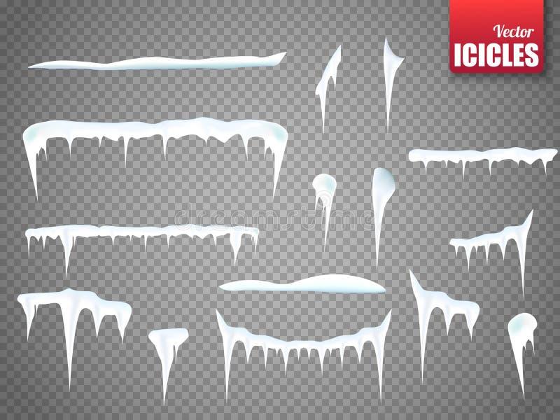 Insieme dei ghiaccioli della neve isolati su fondo trasparente Vettore illustrazione di stock