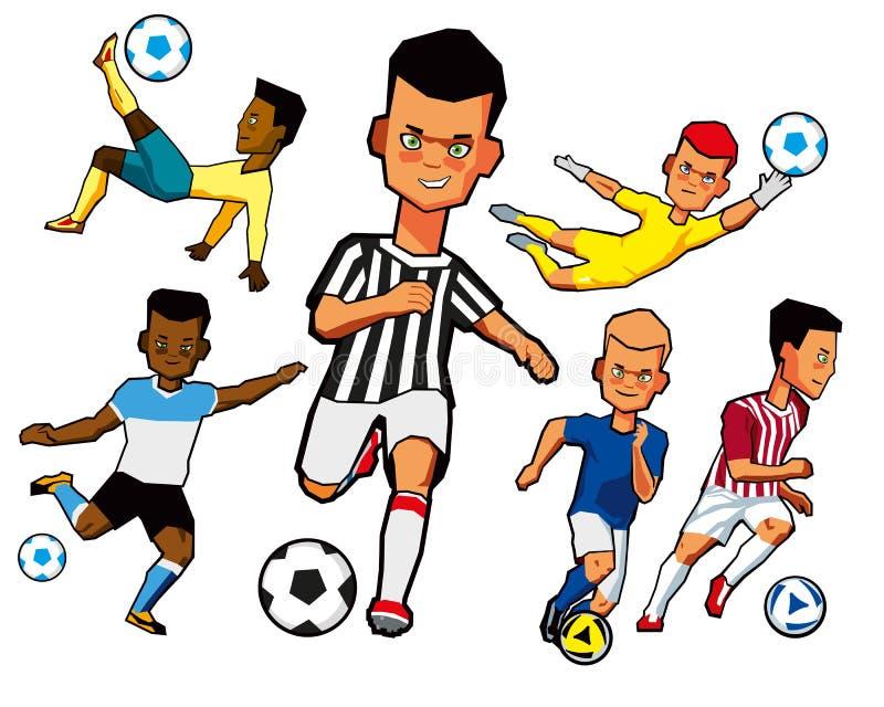 Insieme dei giocatori di football americano dei ragazzi nelle pose differenti illustrazione vettoriale
