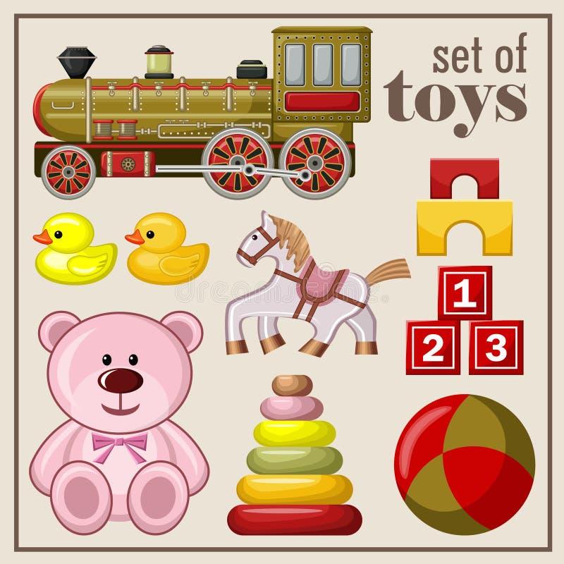 Insieme dei giocattoli d'annata royalty illustrazione gratis