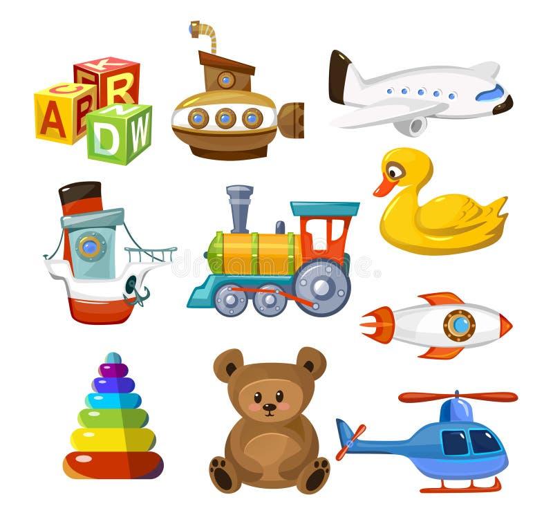 Insieme dei giocattoli del bambino del fumetto Giocattoli variopinti e svegli per il bambino Sottomarino animale dell'elicottero  royalty illustrazione gratis