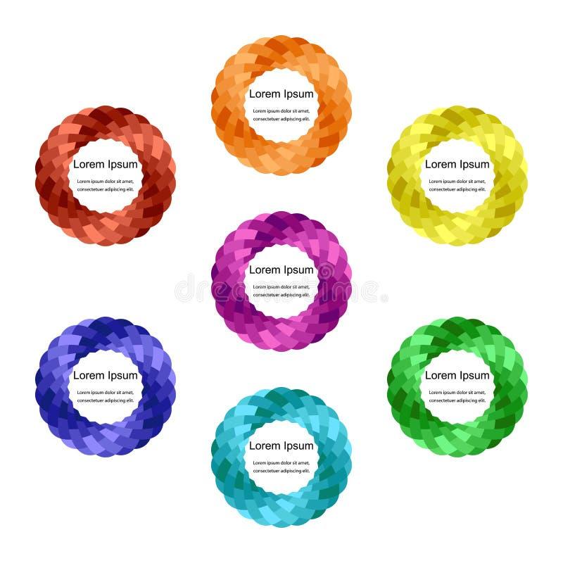 Insieme dei giri variopinti Bande d'intersezione torte nei cerchi Modelli per le etichette, alette di filatoio, insegne, distinti royalty illustrazione gratis