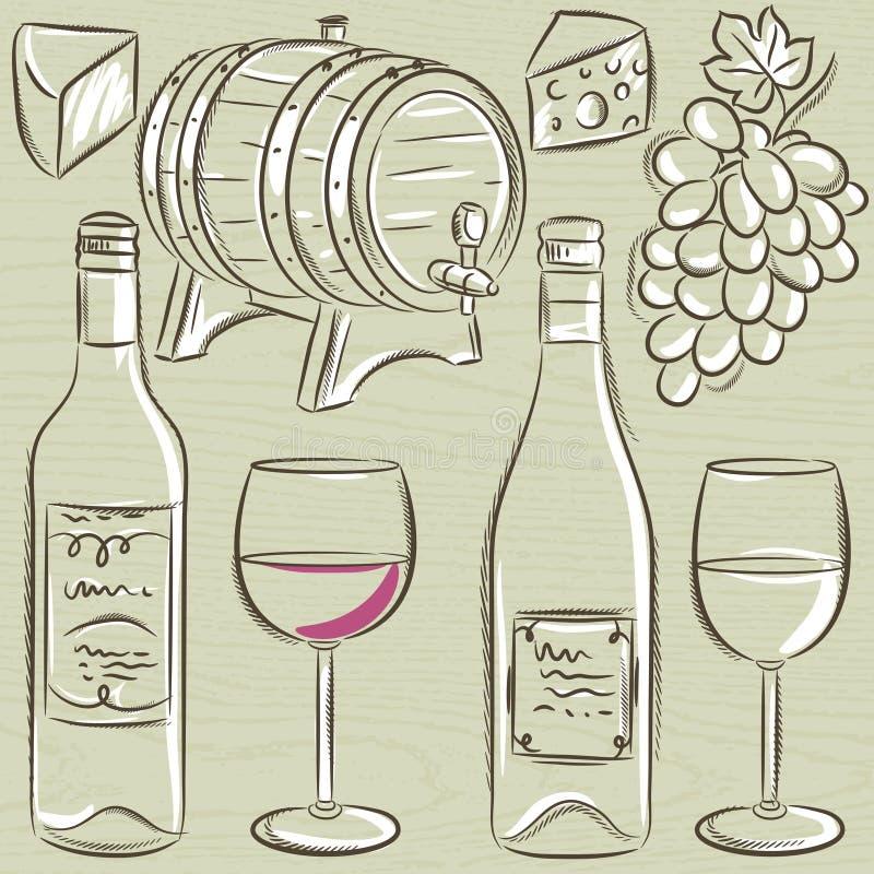 Insieme dei glases e delle bottiglie per vino, vettore illustrazione di stock