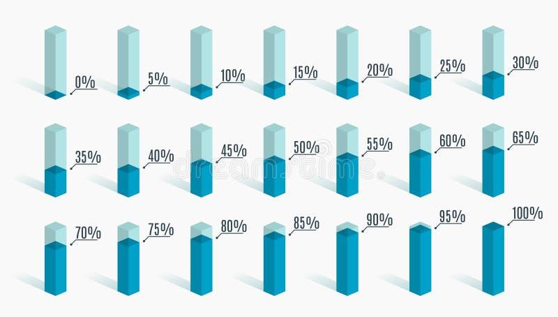 Insieme dei grafici blu di percentuale per il infographics, 0 5 10 15 20 25 30 35 40 45 50 55 60 65 70 75 80 85 90 95 100 per cen illustrazione vettoriale