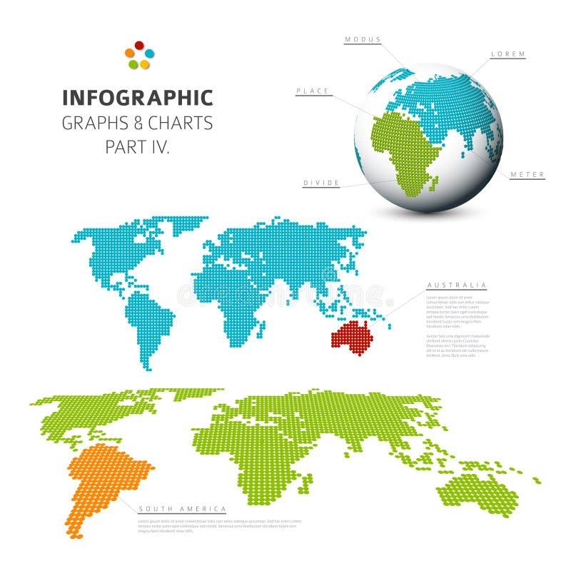 Insieme dei grafici di progettazione piana di vettore e dei grafici infographic 4 illustrazione di stock
