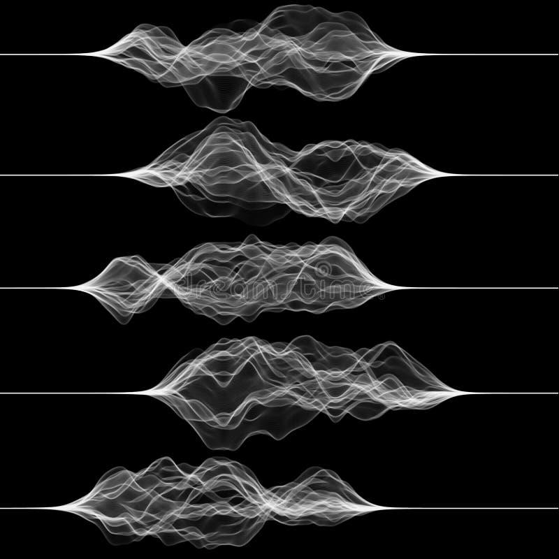 Insieme dei grafici di vibrazione o di pulsazione Musica o segnale di rumore Illustrazione di vettore di arte generativa illustrazione vettoriale
