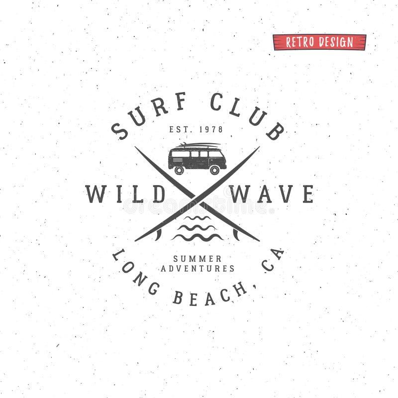Insieme dei grafici e dell'emblema praticanti il surfing dell'annata per web design o la stampa Surfista, progettazione di logo d royalty illustrazione gratis