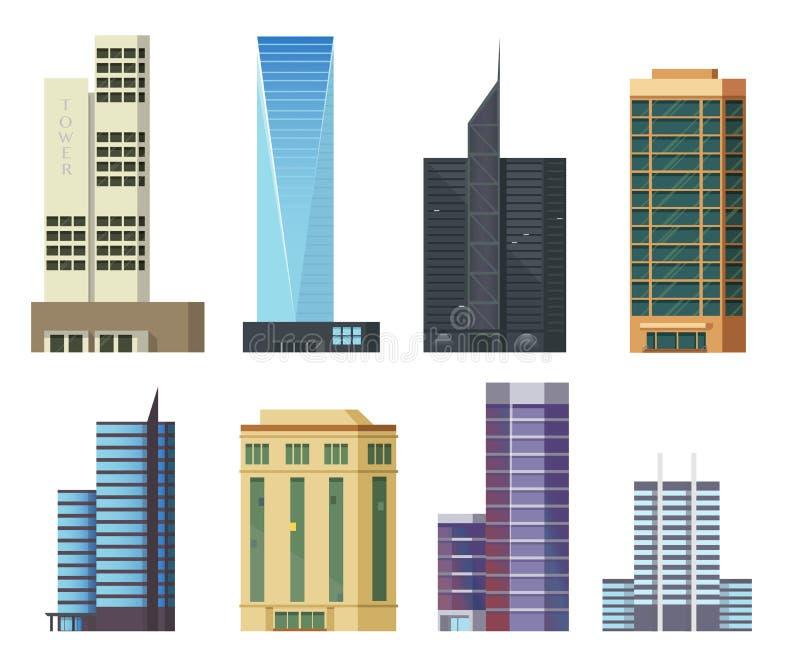 Icone delle costruzioni messe dei grattacieli moderni for Costruzioni case moderne