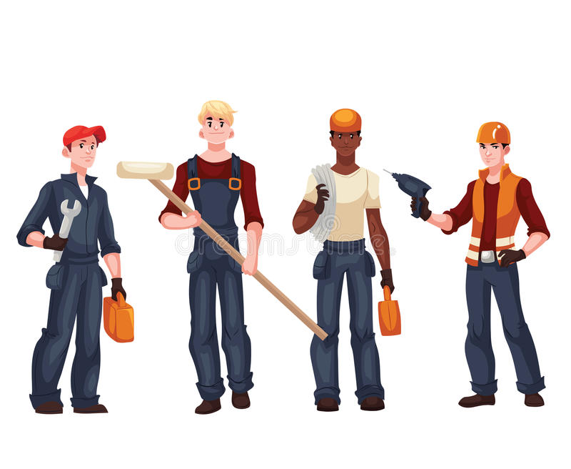 Insieme dei lavoratori integrali - elettricista, meccanico, pittore, riparatore illustrazione vettoriale