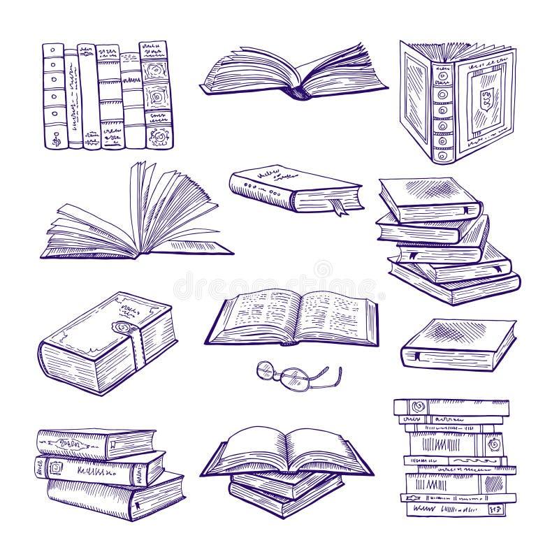 Insieme dei libri differenti Schizzo disegnato a mano di vettore Isolato delle illustrazioni di scarabocchio su bianco illustrazione di stock