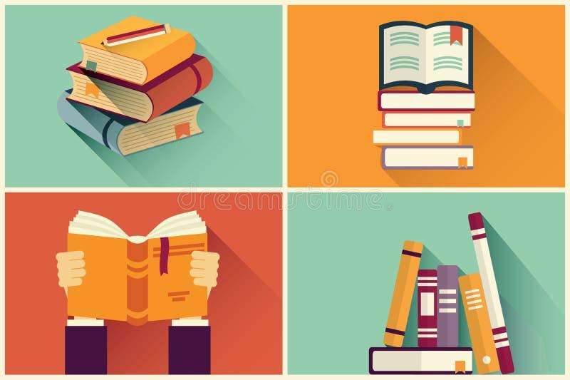Insieme dei libri nella progettazione piana illustrazione vettoriale