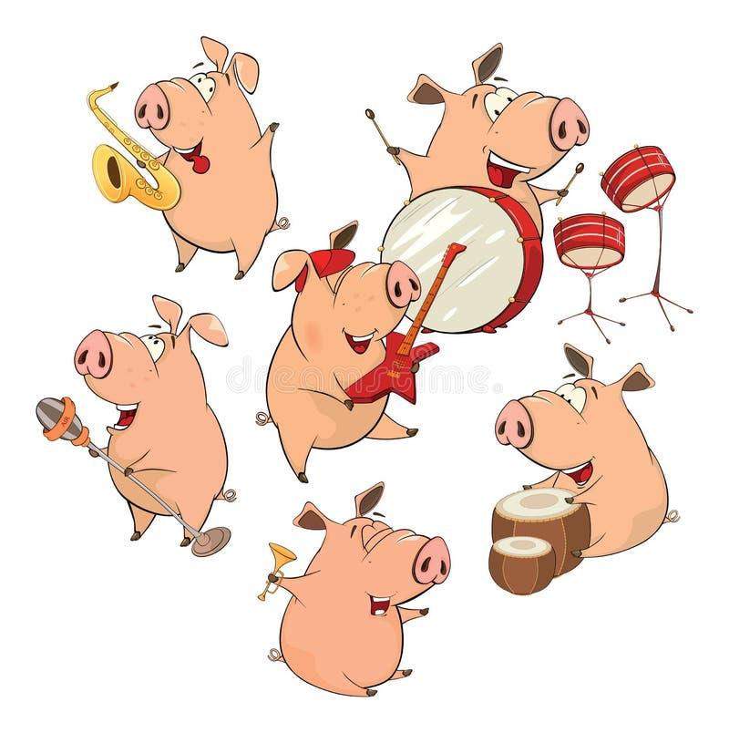 Insieme dei maiali allegri fumetto illustrazione vettoriale