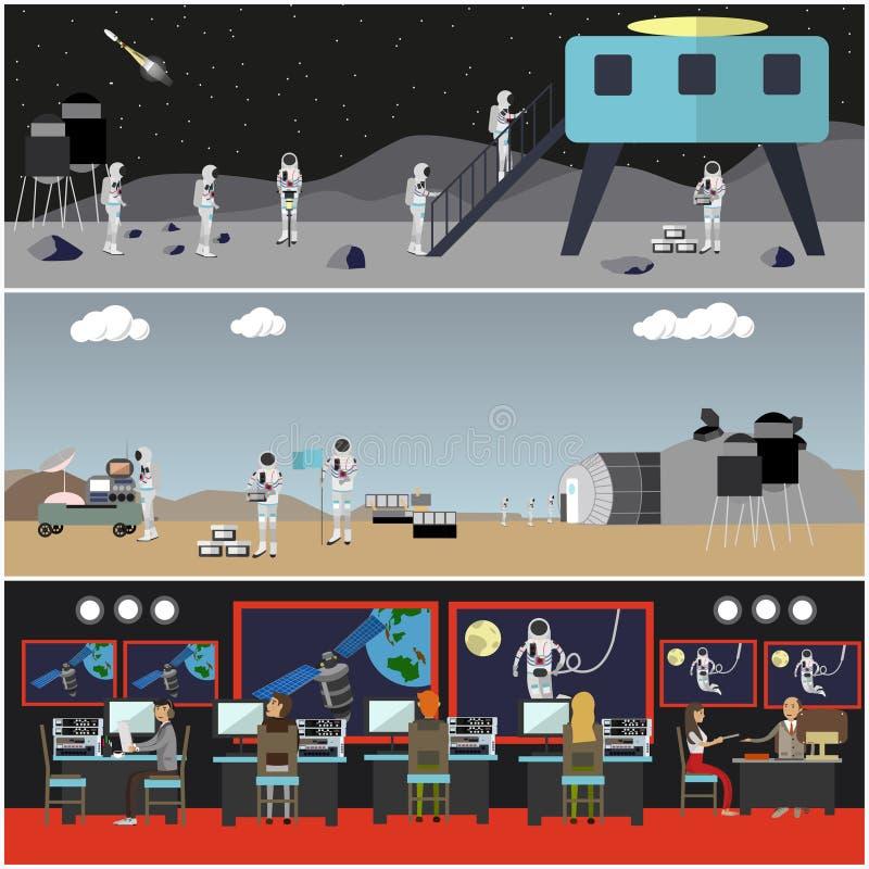 Insieme dei manifesti di concetto di esplorazione spaziale, stile piano di vettore royalty illustrazione gratis