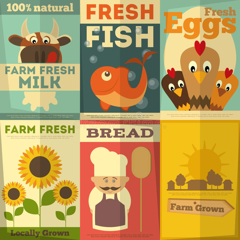 Insieme dei manifesti per l'alimento organico dell'azienda agricola royalty illustrazione gratis