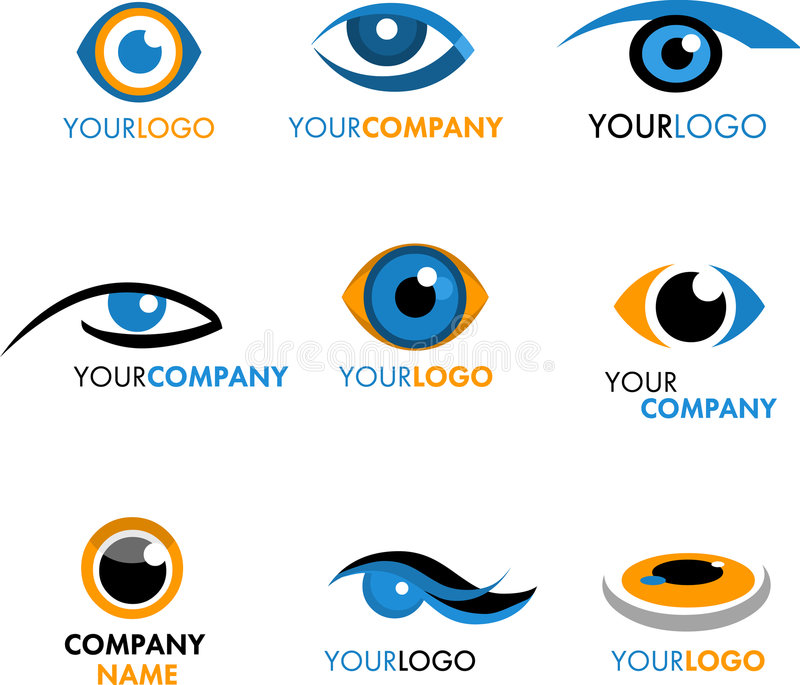 Insieme dei marchi ed icone dell'occhio illustrazione di stock