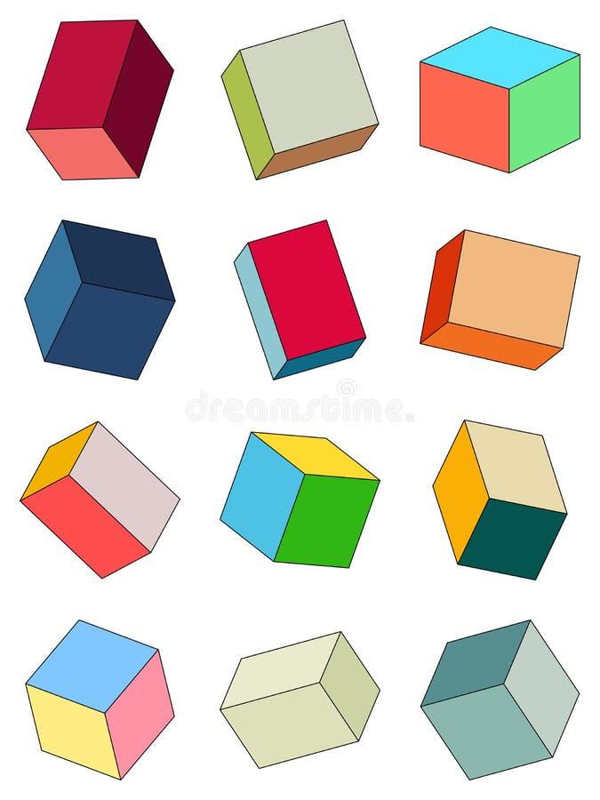 Insieme dei mattoni multicolori illustrazione di stock