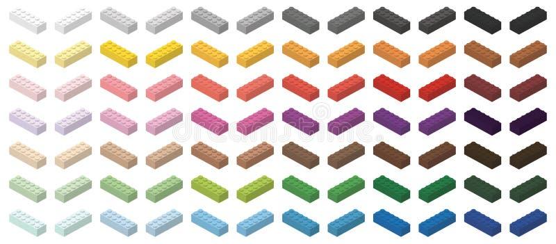 Insieme dei mattoni variopinti della costruzione dei bambini illustrazione di stock
