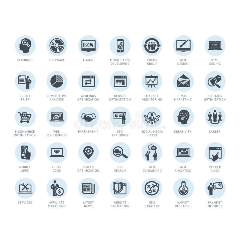 Insieme dei media e delle icone di pubblicità illustrazione di stock