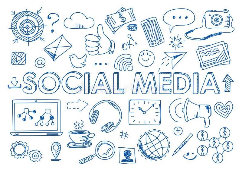Insieme dei media sociali nello stile di scarabocchio illustrazione vettoriale