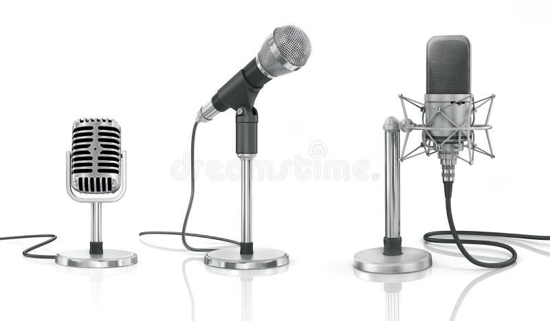 Insieme dei microfoni professionali fotografie stock