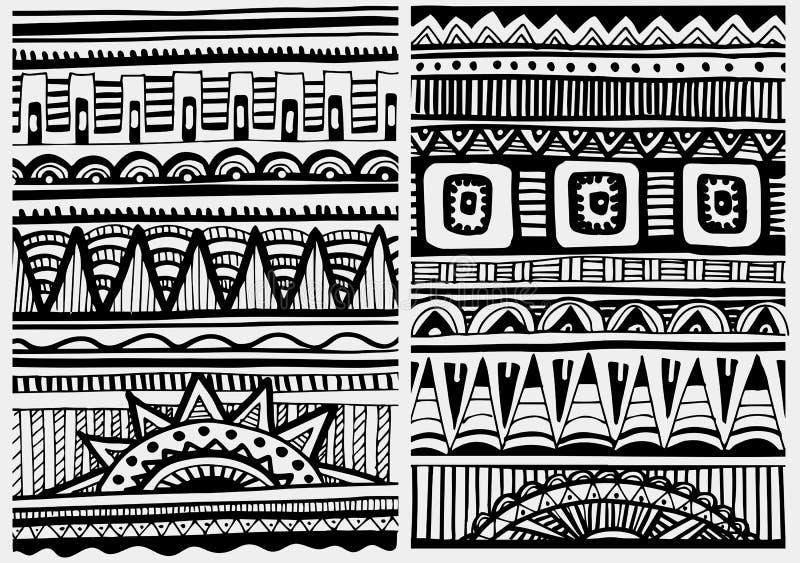 Insieme dei modelli africani illustrazione di stock