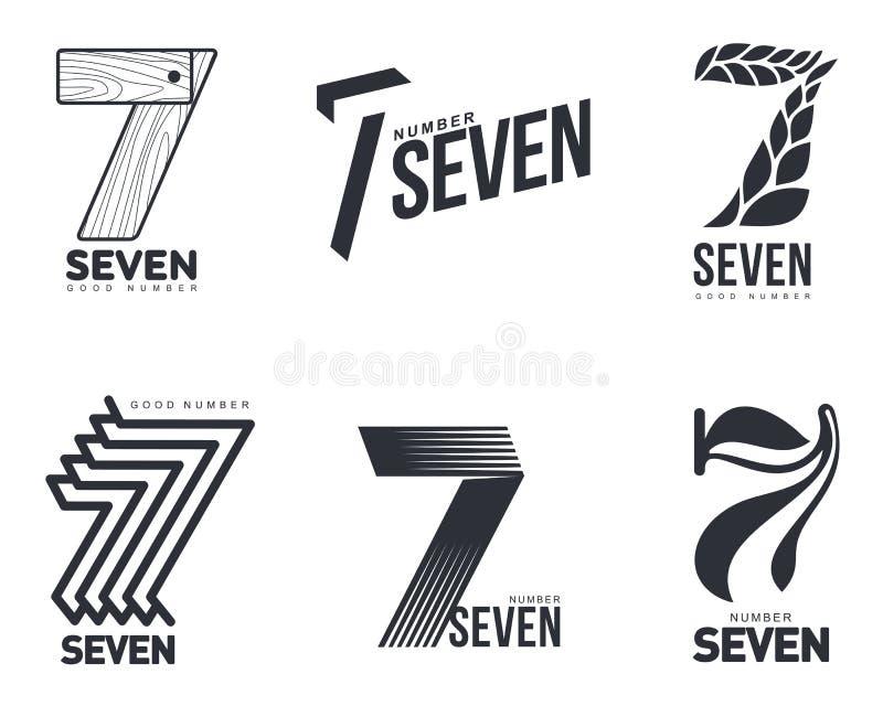 Insieme dei modelli in bianco e nero di logo di numero sette illustrazione di stock
