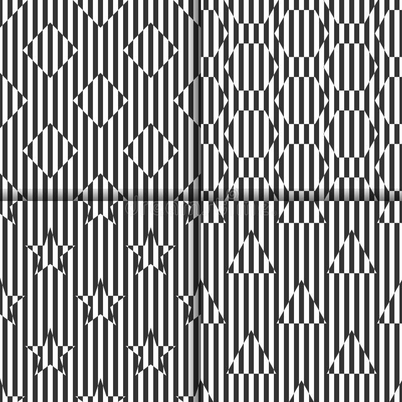 Insieme dei modelli in bianco e nero lineari senza cuciture con i rombi, esagoni, stelle, triangoli illustrazione di stock