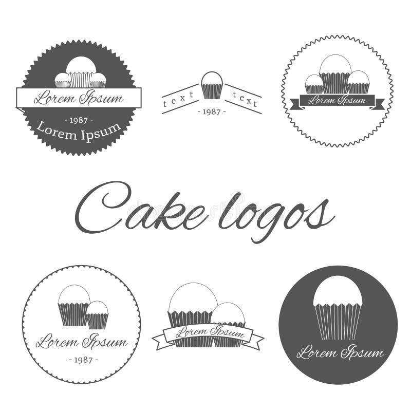 Insieme dei modelli con i dolci per il logos illustrazione di stock