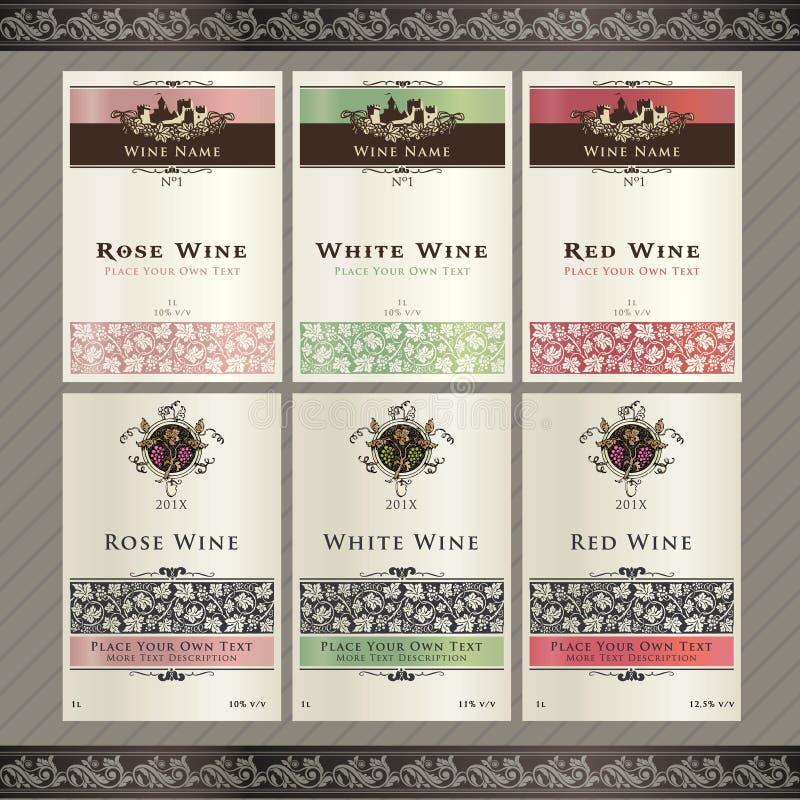 Insieme dei modelli del contrassegno del vino illustrazione vettoriale