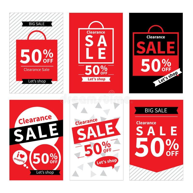 Insieme dei modelli dell'insegna del sito Web di vendita Insegne sociali di media royalty illustrazione gratis
