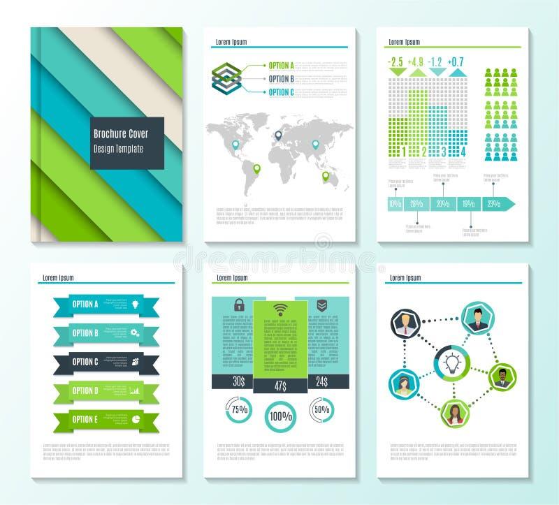 Insieme dei modelli dell'opuscolo della cancelleria di affari corporativi con gli elementi di infographics Fondo geometrico astra royalty illustrazione gratis