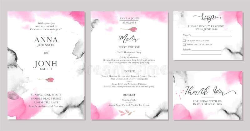 Insieme dei modelli della carta dell'invito di nozze con i fiori rosa dell'acquerello illustrazione di stock