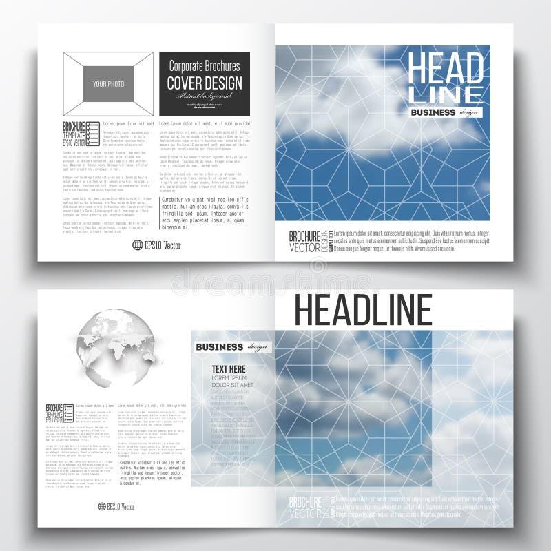 Insieme dei modelli di affari del rapporto annuale per l'opuscolo, la rivista, l'aletta di filatoio o il libretto Bello cielo blu illustrazione vettoriale