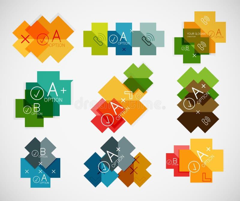 Insieme dei modelli di carta infographic trasversali illustrazione vettoriale