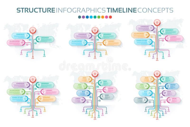 Insieme dei modelli di infographics dell'albero con le opzioni dei rami illustrazione vettoriale