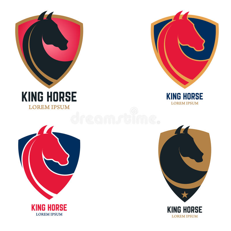 Insieme dei modelli di logo con la testa di cavallo Segno del cavallo di re sullo schermo illustrazione vettoriale