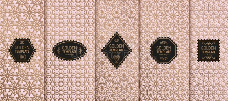 Insieme dei modelli di lusso dorati Geometrico astratto illustrazione di stock