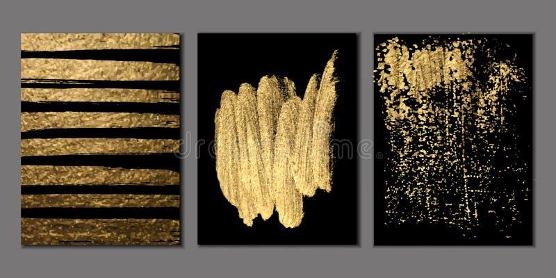 Insieme dei modelli di progettazione dell'oro e del nero per gli opuscoli, alette di filatoio, logo, insegne Ambiti di provenienz illustrazione vettoriale