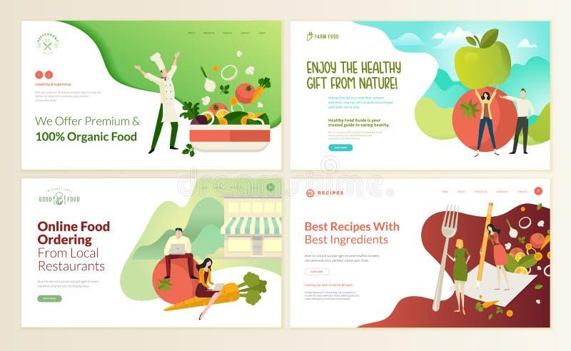 Insieme dei modelli di progettazione della pagina Web per alimento biologico e la bevanda, prodotti naturali, ristorante, aliment royalty illustrazione gratis