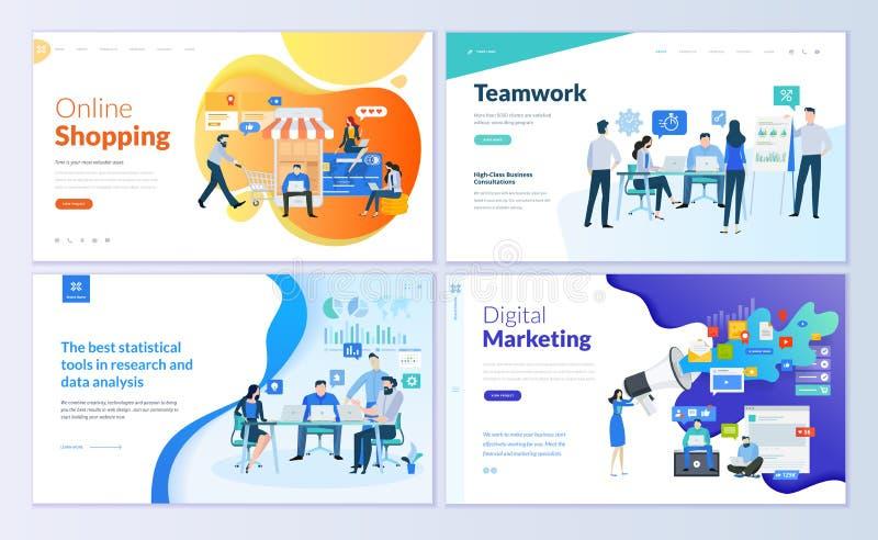 Insieme dei modelli di progettazione della pagina Web per analisi dei dati, gestione app, consultandosi, commercializzazione soci illustrazione di stock
