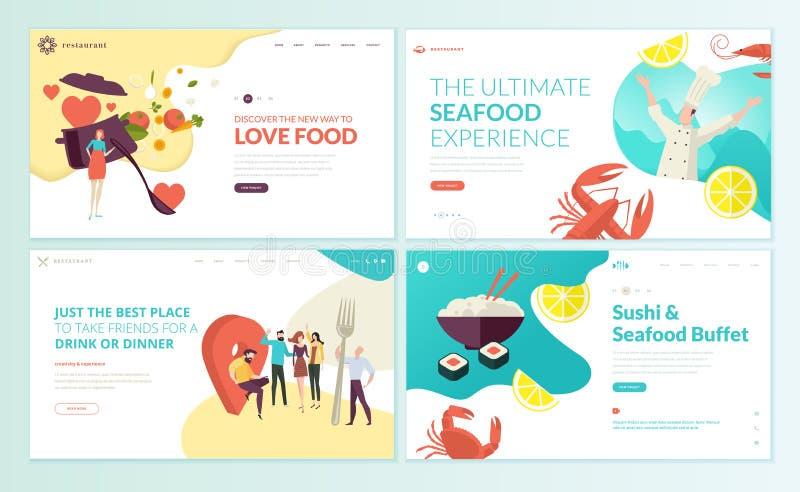 Insieme dei modelli di progettazione della pagina Web per il ristorante, i frutti di mare, i sushi, l'alimento e la bevanda royalty illustrazione gratis