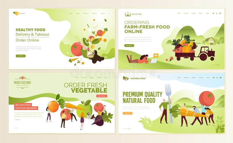 Insieme dei modelli di progettazione della pagina Web per l'alimento fresco dell'azienda agricola, alimento online che ordina, ve illustrazione di stock
